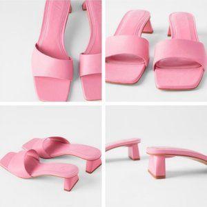 ZARA Pink Leather Block Heel Mule Sandals Size 9